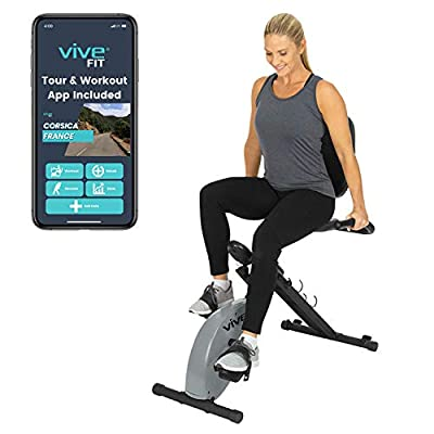 Vive Folding Exercise Bike (App Included) - Upright X Stationary Cycle Machine - Foldable Magnetic Resistance Home Fitness Equipment - Indoor Cycling Workout For Men, Women, Elderly - Digital Trainer