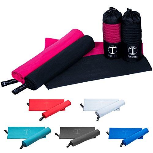 Funny Tree Mikrofaser Handtuch (pink) 40x80cm | schnelltrocknend antibakteriell platzsparend Ultraleicht, perfekt für Reisen Sport Yoga...