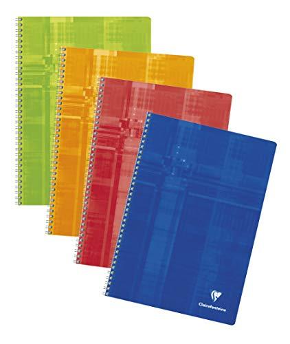 Clairefontaine 68142C Spiralbuch, A4, kariert, 1-er Pack, 50 Blatt, farbig sortiert