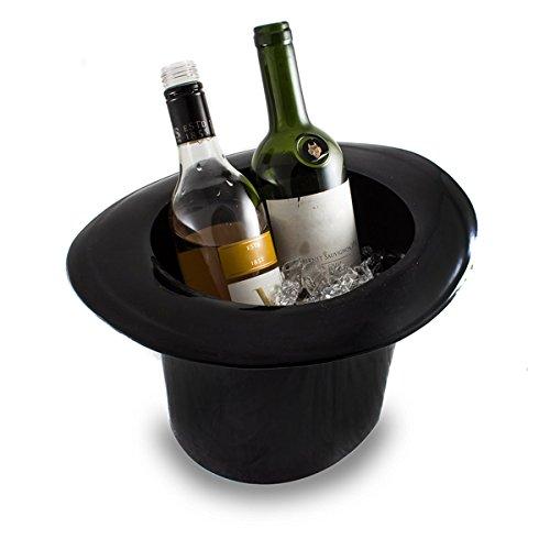 Secchiello per bottiglie di vino vintage con finitura nera lucida in acrilico, modello grande con capacità 4 litri