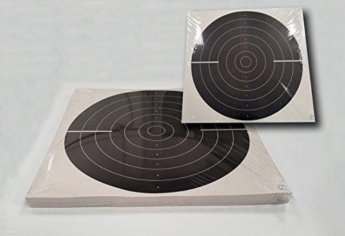Paquete de 100 dianas de Tiro Olímpico de la modalidad de Pistola Tiro Rápido 50-25 metros , tamaño 55 * 52 Cm., Fabricadas en cartoncillo dorso madera de 250 grs.