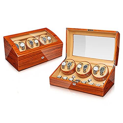 ANTLSZH Almohada de Reloj Ajustable enrollador automático de Reloj con Cerradura Caja de presentación de enrollador de Reloj Motor Extremadamente silencioso (Color Madera de ébano)(Size:6+7)