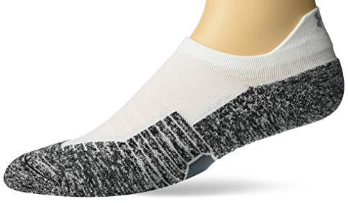 Under Armour Adult Run Cushion No Show Tab Socks, 1-Pair , White/Pitch Gray , Shoe Size: Men 8-12; Women: 9-12
