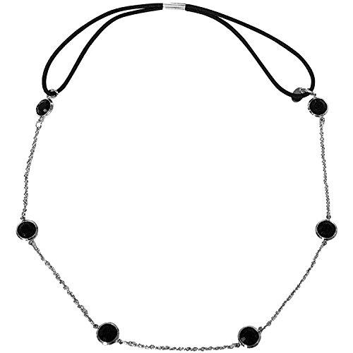Mia Metal Chain Headband, Hair Accessory + Necklace, Silver Chain with Black Stones, Elastic Rubber Band, for Women and Girls 1pc