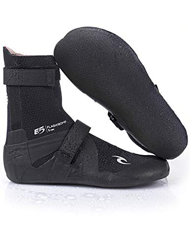 Rip Curl Flashbomb Surfing Booties | Round Toe | 7mm | Lightweight, Ultra Warm Water Sport Surf Socks for Surfing, Swimming, Snorkeling | Pairs Well Flashbomb Wetsuit