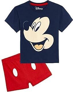 Mickey Mouse Pijama Niño Verano, Pijamas Niños Cortos, Ropa Niño 100% Algodon, Conjunto Niño Verano Camiseta Manga Corta y Short, Regalos para Niños Niñas 1-6 Años