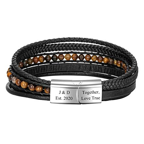 PiercingJak Personalized Custom Mens Multilayer Genuine Leather Natural Tiger Eye Stone Healing Gemstone Beads Bracelet Magnetic Clasp Cowhide Braided Leather Bracelet