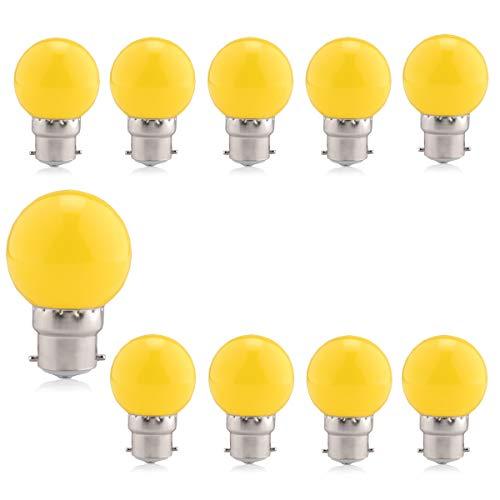 Gele lamp LED-verlichting B22 Bajonet, Brightfour decoratieve festoenlamp 1,5 W, kleine golfballamp, 60.000 uur levensduur, voor buiten Indoor String, Kerstmis, boom, Fairy Party Night Lights, 10 stuks [Energieklasse A +]