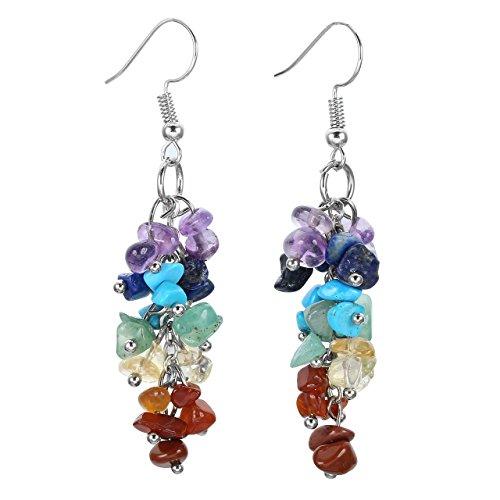 CrystalTears orecchini con pendenti lunghi da donna vintage Multicolore quarzo regalo per donna ragazza moglie-Multicolore