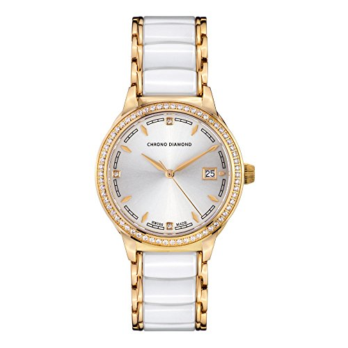 10410E Chrono Diamond Thyrsa Gold IP Keramik Weiß