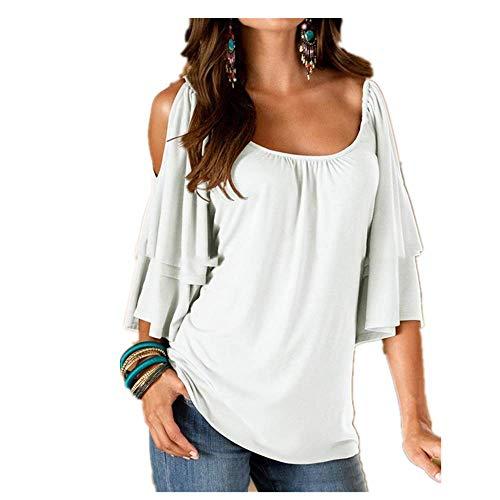 Las mujeres camiseta de verano sexy sin tirantes camiseta de las mujeres de color sólido de manga corta femenina camisetas o-cuello casual señoras Tops - blanco - Medium