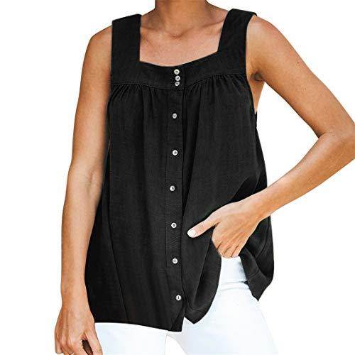Damen Sommer T-Shirt mit V-Ausschnitt Feste Knopfweste lose beiläufige ärmellose Blusen Tank Tops(Schwarz,XL)