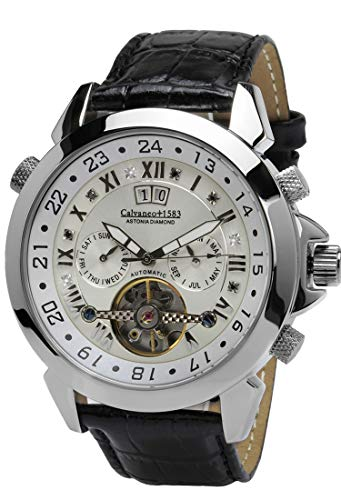 Calvaneo 1583 Herren-Armbanduhr Astonia Platin Black Russian Diamond Analog Automatik Leder weiß 12544
