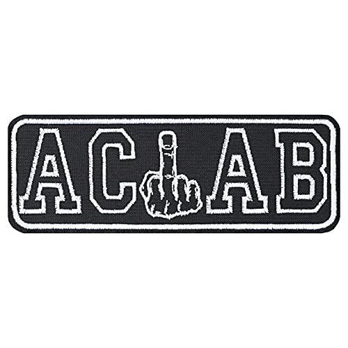 Hooligan Aufnäher: ACAB Ultras Biker Patch mit Stickerei - Kult-Aufnäher Rocker Aufbügler Heavy Metal - DIY Stoff-Applikation für Kutte/Jacke/Jeans/Weste, SCHWARZ, 140x50mm