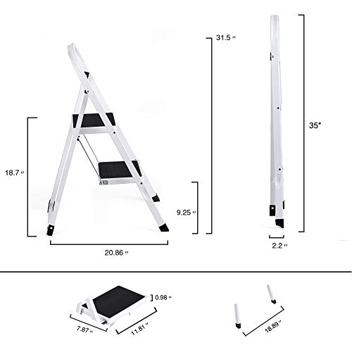 Delxo 2 Step Ladder Folding Step Stool Ladder with Handgrip Anti-Slip Sturdy and Wide Pedal Multi-Use for Household and Office Portable Step Stool Steel 300lbs White (2 Feet)