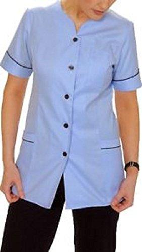 Túnica de enfermeras azul cielo con borde azul marino NHS Healthcare estilo botón delantero. INS34SK