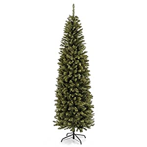 Best Choice Products 7.5ft Hinged Fir Pencil Artificial Christmas Tree w/Metal Foldable Stand, Easy Assembly, Green