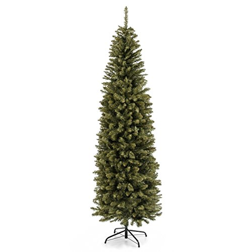 Best Choice Products 7.5ft Premium Hinged Fir Pencil Artificial Christmas Tree w/Metal Foldable Stand, Easy Assembly - Green