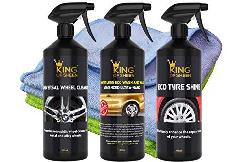 King of Glanz Außen Car Care Kit Autopflegeset- Adv Ultra Nano Eco wasserlos Autowasche 1 L, Universal Rad Cleaner 500ml und ECO Reifen-Glanz 500ml + 2 Profi Auto Mikrofasertücher und Reifenschwamm