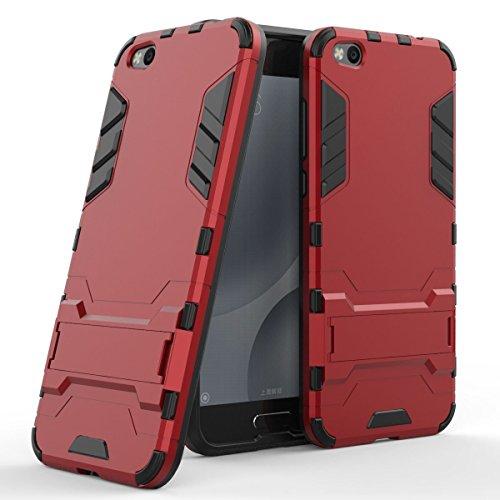 Hülle für Xiaomi Mi 5C (5,15 Zoll) 2 in 1 Hybrid Dual Layer Shell Armor Schutzhülle mit Standfunktion Hülle (Rot)