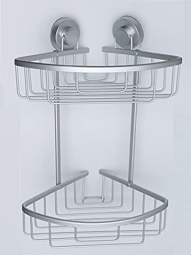 DILAW - Estanteria Baño de Aluminio Pulido Antioxidante, Estanteria Ducha Esquinera, Estanteria Baño sin Taladro, Muebles de Baño de 2 Niveles con Ventosas
