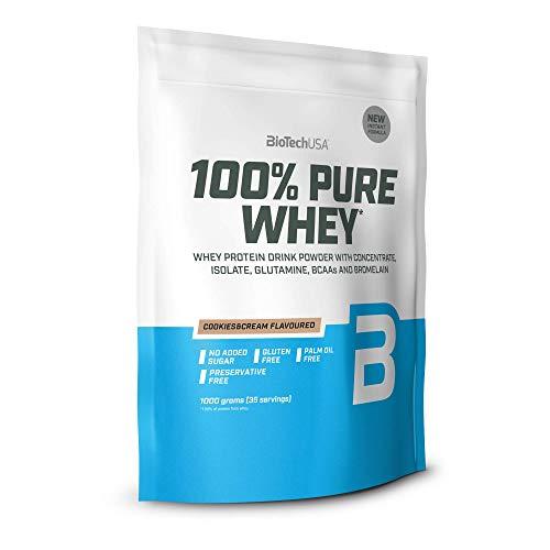 BioTechUSA 100% Pure Whey Complejo de suero de leche con bromelina, aminoácidos, sin azúcar añadido, sin aceite de palma, con edulcorante, 1 kg, Cookies & Cream