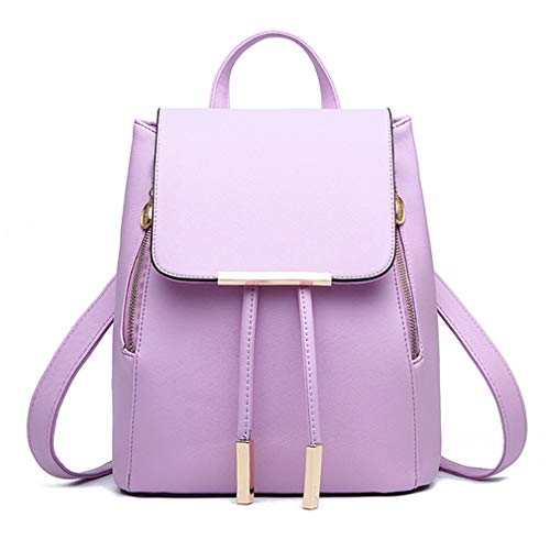 Pahajim Women Backpack Fashion Leather Shoulder Bag Girls Student School Bag Travel Backpack Bag Rucksack Satchel (Purple)
