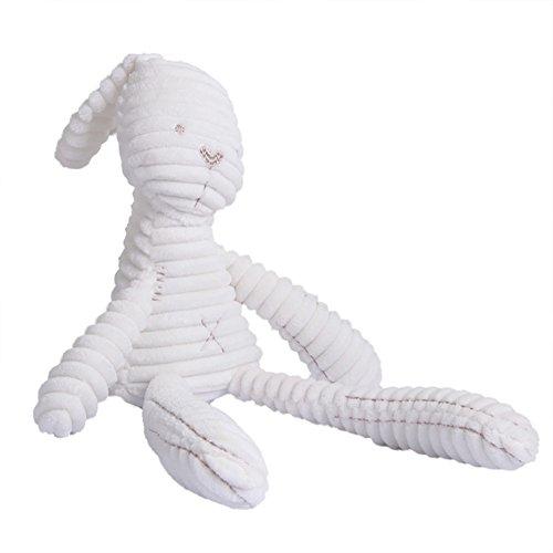 Morbuy Poupées de Couchage Bébé Appease avec des Jouets Nouveau-nés Plush Rabbit Bébé Cute Soft Peluche Activité Crib Poussette Jouets Toy Doll (20 CM * 11 CM Lapin Blanc)