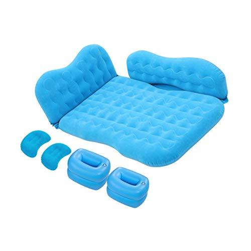 HUIJUTB Colchón Inflable para Automóvil, Tapete Trasero Impermeable para Dormir, Cama De Viaje, con Dos Respaldos De Almohada, Adecuado para Viajes De Campamento Y Otras Actividades Familiares,Azul