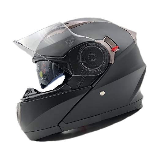 Nat Hut Casco Moto Modular ECE Homologado Casco de Moto Scooter para Mujer Hombre Adultos con Doble Visera (XL 61-62cm, Negro)