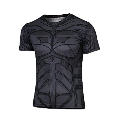 Born2Ride - Maglietta a maniche corte con motivo supereroe, per travestimenti, palestra e ciclismo