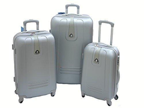 JustGlam - Set 3 Trolley 1305, valige rigide in ABS policarbonato, bagaglio piccolo da cabina, chiusura con lucchetto / Argento