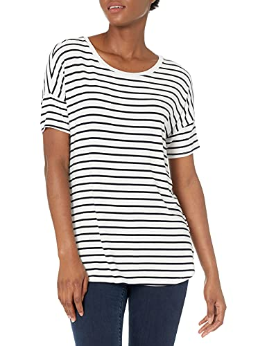 Amazon Brand - Daily Ritual Women's Relaxed Fit Jersey Rib Trim Drop-Shoulder Short-Sleeve Scoop-Neck Tunic, White-Navy Stripe, Large