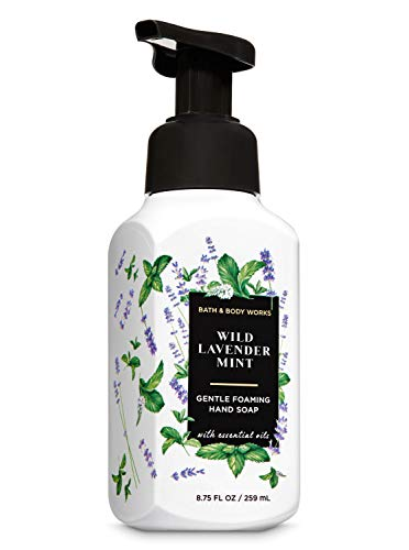 Bath and Body Works Wild Lavender Mint Gentle Foaming Hand Soap 8.75 Ounce White Bottle