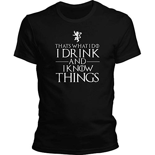 DragonHive Herren T-Shirt Thats What i do i Drink and i Know Things, Größe:XL, Farbe:Schwarz