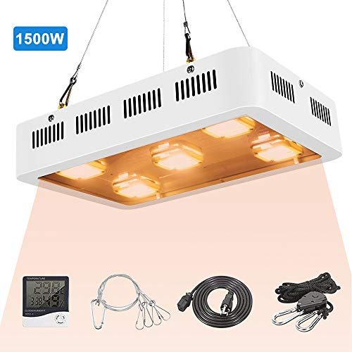 FSGTEK 1500 Watt X5 COB LED Grow Light UV Full Spectrum Plant Light with On/Off Switch, with Temperature and Humidity Monitor, Hanging Hook Kit, Adjustable Rope, White