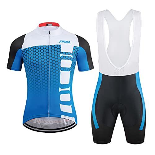 JEPOZRA Fahrradbekleidung Herren Sommer Fahrradtrikot Set Rennrad Trikot Radtrikot Kurzarm MTB Mountainbike Jersey Shirt und Fahrradhose Atmungsaktiv Gel Sitzpolster (Weiß, XL)