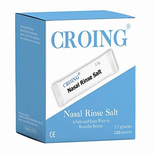 CROING 120 Packets Neti Pot Salt, Nasal Rinse Salt, Sinus Rinse Salt, Nose Wash Sachets, Nasal Irrigate Salt, Nasal Flush Saline, Sinus Relief (120 Packets)