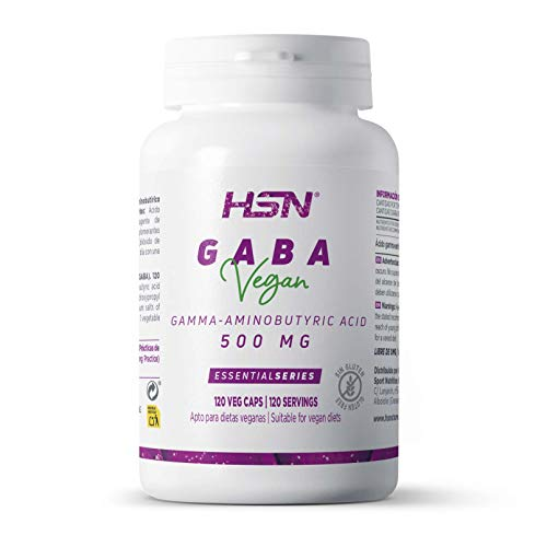 GABA 500mg de HSN | Ácido Gamma-aminobutírico | Relajante Natural | Reduce Estrés | Vegano, Sin Gluten, Sin Lactosa, 120 cápsulas vegetales