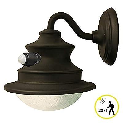 Gama Sonic Barn Light Gooseneck Sconce, Outdoor Solar Light Fixture, Wall Mount, Bright White LED