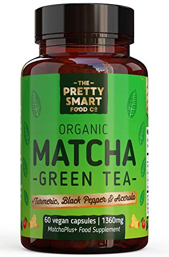 Powerful Green Tea Extract Capsules - Organic Matcha Green Tea Tablets - Boosted with Turmeric, Acerola Cherry & Black Pepper - 1360MG Complex - Green Tea Supplement - 60 Capsules - UK Made
