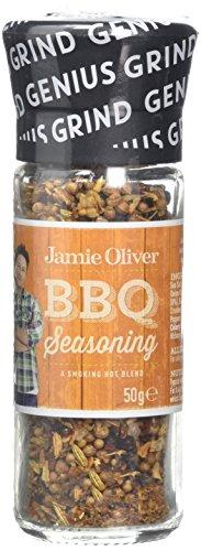 Jamie Oliver BBQ Seasoning Grind Mill 50 Grams Improved Grind Ceramic Grinding Mechanism Glass Bottle A Smoky Hot Blend
