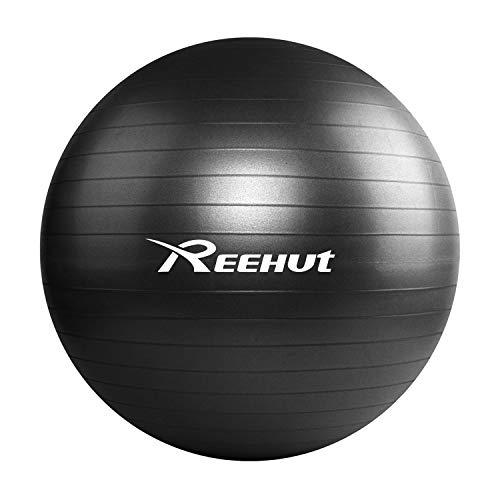 REEHUT フィットネスボール バランスボール ピラティスボール 耐荷重550KG アンチバーストヨガボール 75cm Black