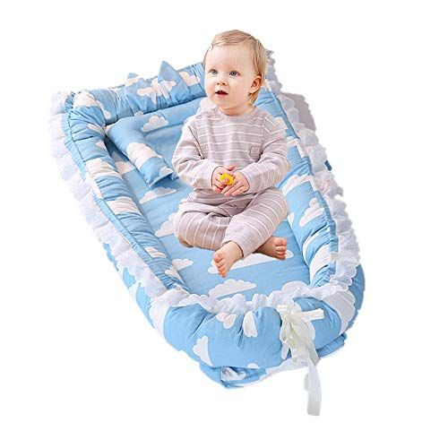 %17 OFF! Abreeze Ruffled Baby Bassinet for Bed -Blue Clouds Baby Lounger - Breathable & Hypoallergen...