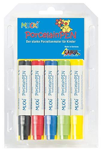 Mucki 27151 Porcelain Pen 5er Set in gelb, grün, blau, rot und schwarz, bunt