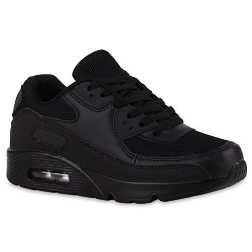 Unisex Sport Damen Herren Sneakers Lauf Neon Camouflage Glitzer Stoff Runners Trainers Leder-Optik Schuhe 111997 Schwarz 39 Flandell