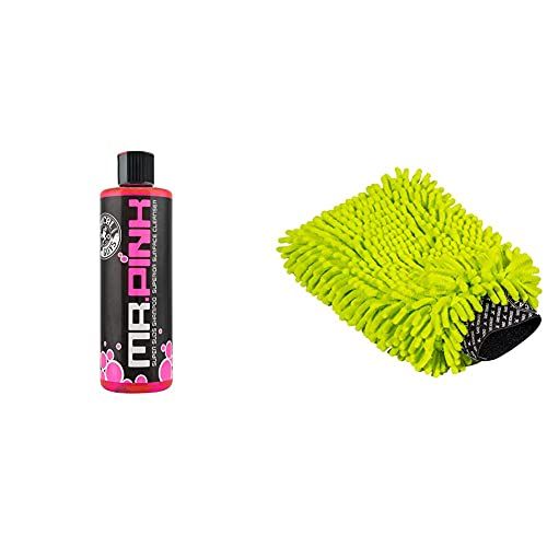 Chemical Guys CWS_402_16 Mr. Pink Foaming Car Wash Soapwith Chemical Guys Chenille Premium Scratch-Free Microfiber Wash Mitt,, MIC493, Lime Green