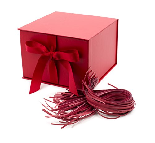 Hallmark 7' Gift Box with Fill (Solid Red) for Christmas, Birthdays, Father's Day, Bridal Showers, Weddings, Baby Showers, Valentines Day and Graduations