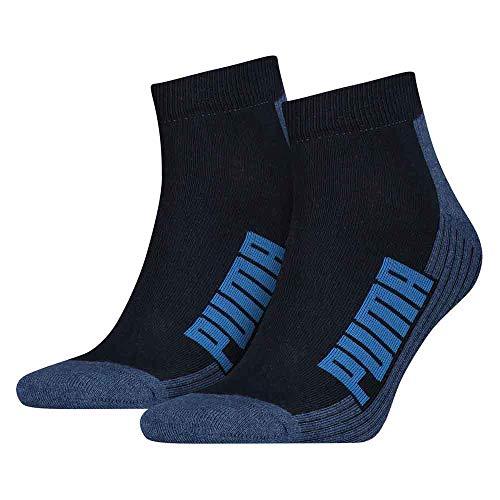 PUMA Herren Socken CUSHIONED QUARTER 2P, navy/grey/strong blue, 43-46, 161041001
