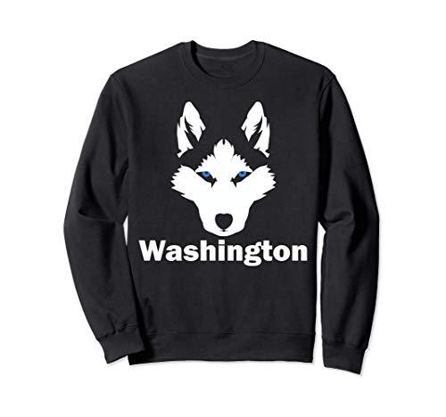 Siberian Huskies State of Washington Husky Face Sweatshirt